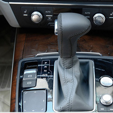 цена Free Shipping High Quality Cowhide Top Layer Leather Automatic Gear Shift Collars Gear Cover For Audi A3 A4 A5 A6 A8 Q5 Q7 онлайн в 2017 году