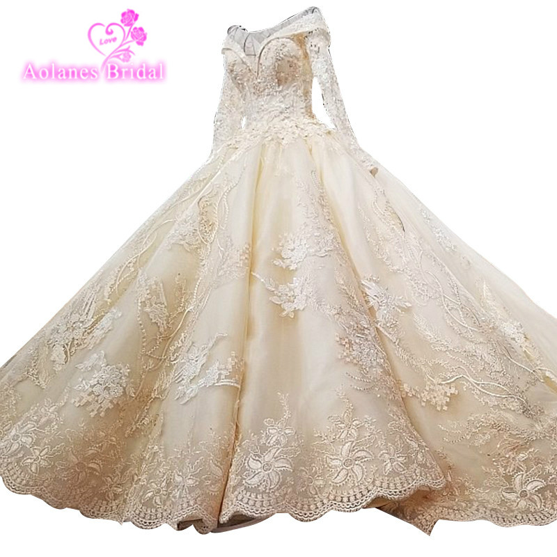 Dubai Luxury Long Sleeves Vintage Wedding Dresses High-end Custom Sequined Sexy Bridal Trian Wedding Gown 2018 Puffy Ball Gown
