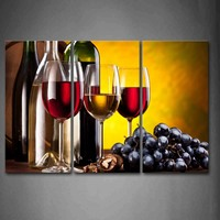 Framed Wall Art Pictures Grape Wine Cup Canvas Print Food Poster With Wooden Frame For Home Living Room And Office Decor