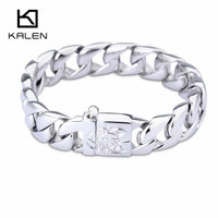 2016 Kalen Stainless Steel Men S Bracelet 215mm Silver Color Free Shipping