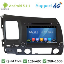 Quad Core HD 1024*600 Android 5.1.1 Car DVD Player Radio Stereo 3G/4G WIFI GPS Map For Honda CIVIC Left Hand Driving 2006-2011