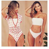 NEW 3 Pieces Swimsuit Bandeau High Rise Bikini Print Sheer Mesh Short Sleeve Swimwear