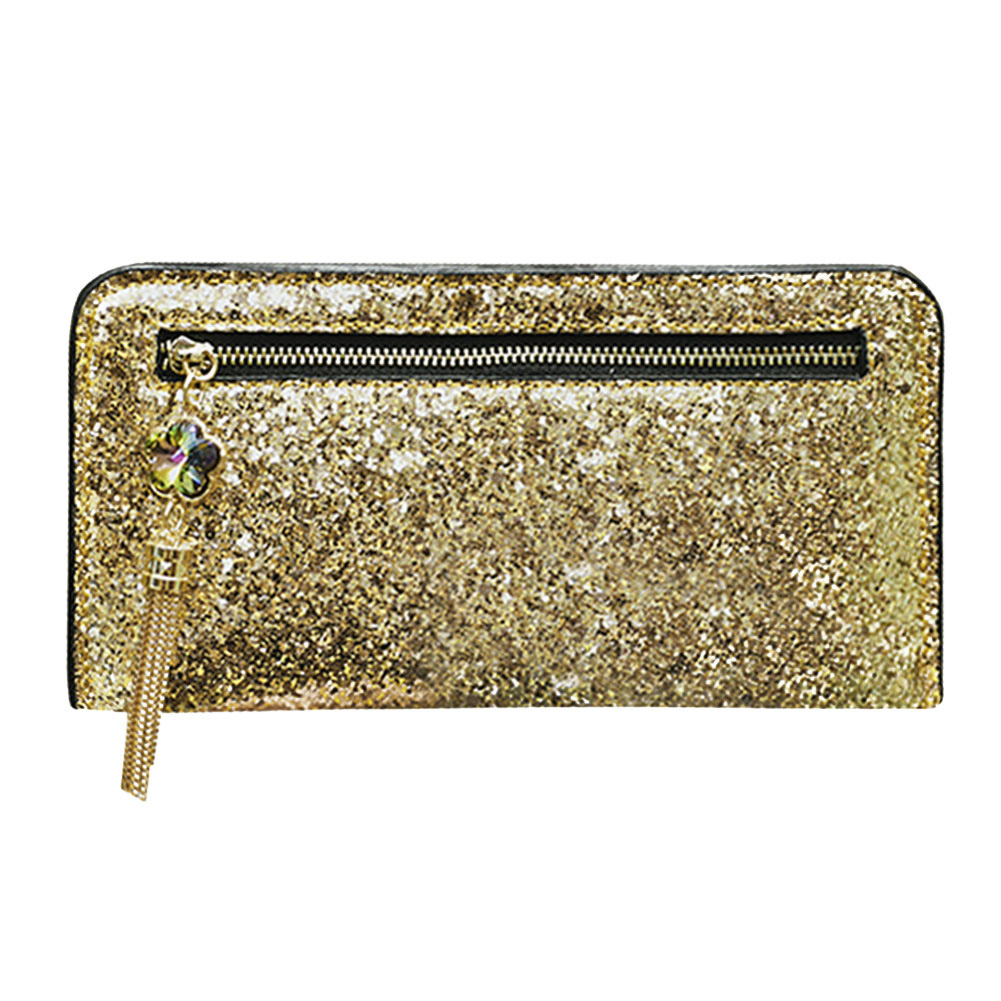 Bling Sequins Leather Wallet Women Long Wallet Zipper Card Holder Portfolio Wallet Women Luxury Brand Clutch Purse Portefeuille ce emc lvd fcc ozone bath spa
