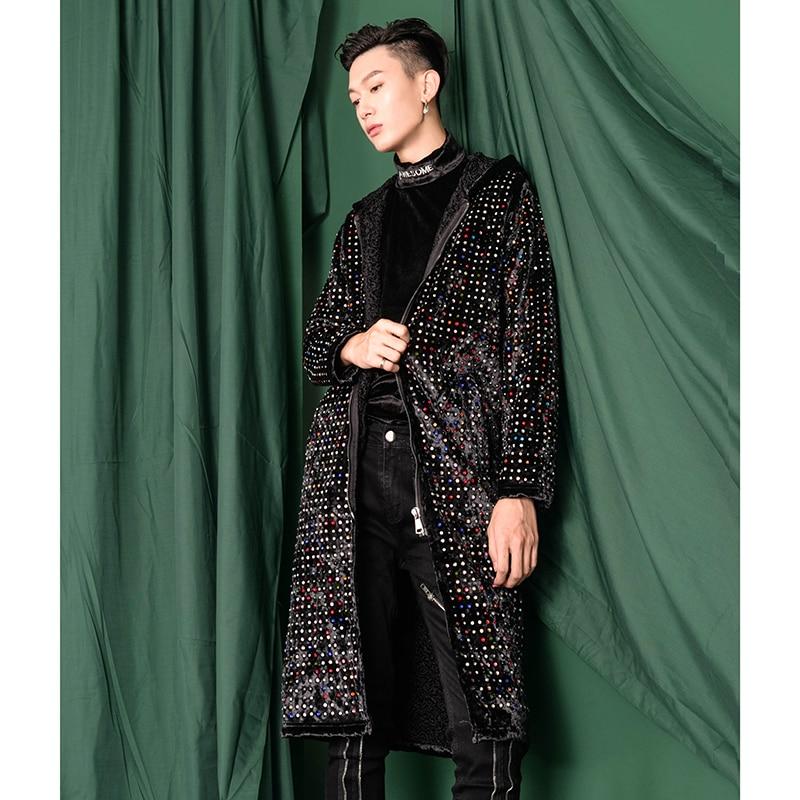 Тяжелое ремесло замша гладильная дрель с капюшоном длинный Тренч пальто мужские выше колена пальто похудение тренд. M 3XL! - 3