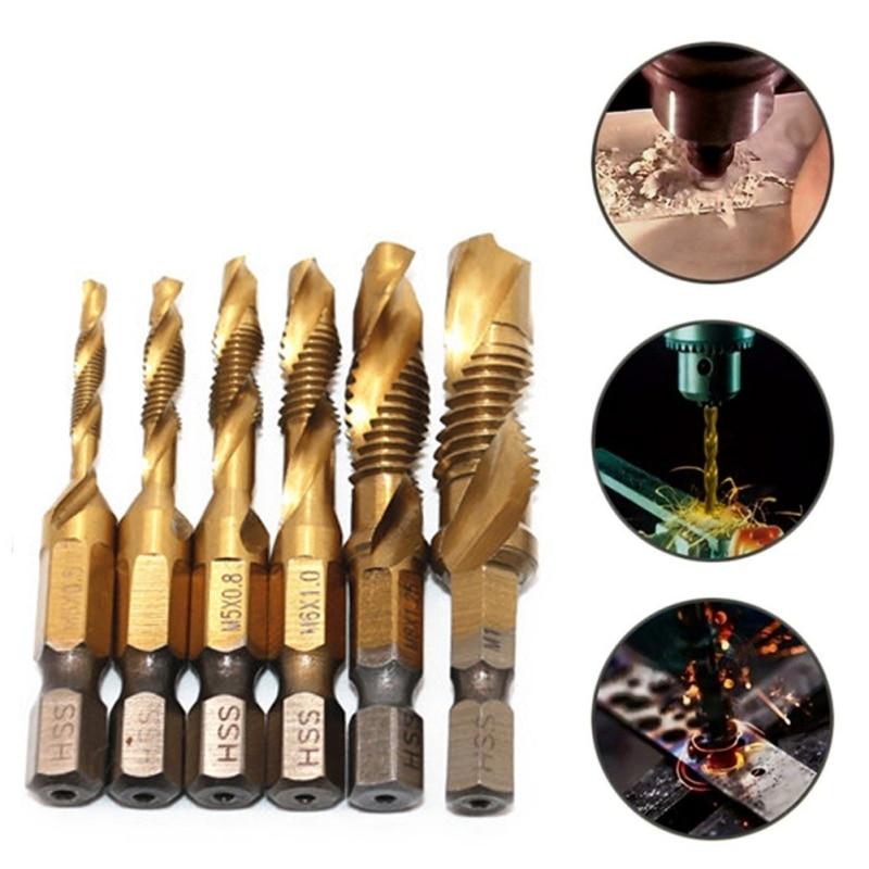 Hand Tap Drill Set Hex Shank HSS Screw Spiral Point Thread Metric Plug Drill Bits M3 M4 M5 M6 M8 M10 Hand Tools