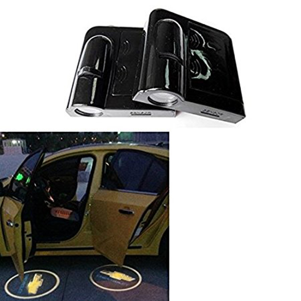 YSY 2pcs/pair Wireless Car Door Welcome Light Logo No Drill Lights LED Laser Ghost Shadow Projector Lamp for Chevrolet 2 x wireless led car door logo projector welcome ghost shadow light for suzuki swift sx4 s cross jimmy alto celerio grand vitara