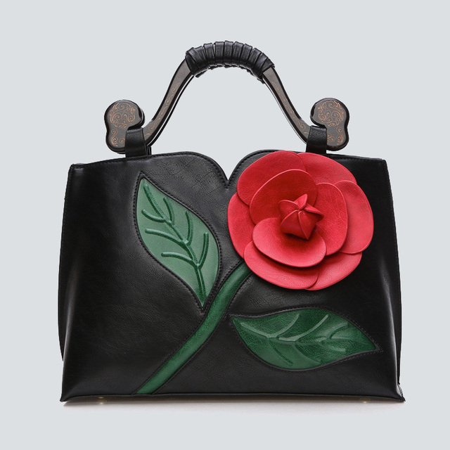 33b64bc602a Chinese style handbags PU leather Women Shoulder Bags Crossbody Bag Female  Tote 3D Applique Flowers High Quality Top-handle Bags