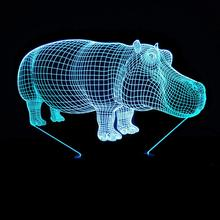 Colorful LED 3D Vision Night Light HIPPO Image Touchment Control Color 3D Night Lamp Desk Light цена 2017