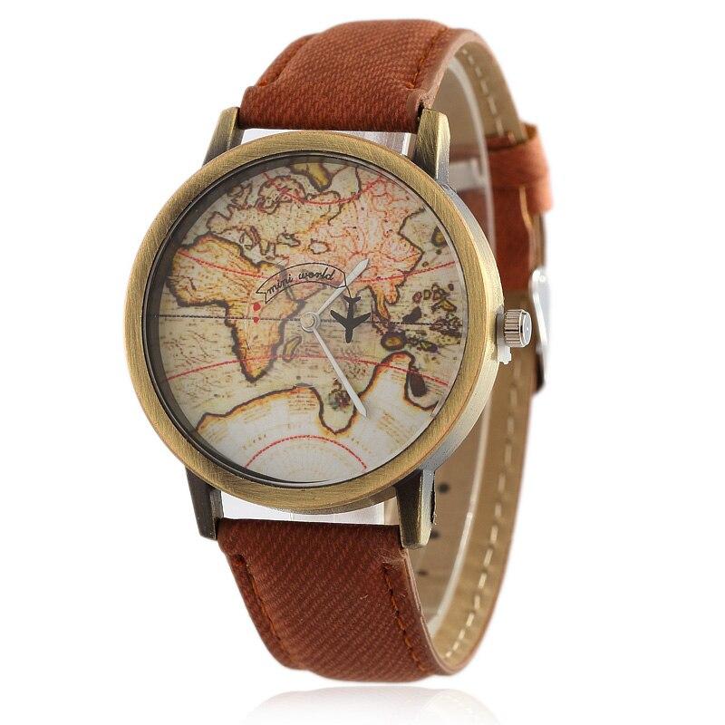 2019 Cowboy Strap Map Watch By Plane Watches Women Men Denim Fabric Quartz Watch 7 Color Sports Watches Free Shipping  Women Wat