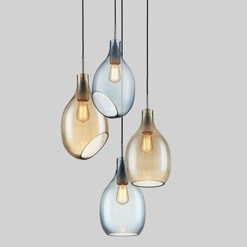 Lámparas colgantes de cristal Simple Moder minimalista LED Bar comedor lámparas colgantes decoración del hogar iluminación E27 Luminaria de AC110-220V