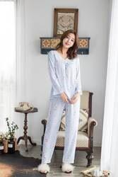 Женская одежда 2019 Весенняя мода Пижамный комплект для женщин одежда с длинным рукавом Пижама с принтами цветов домашний Досуг Удобная ночн