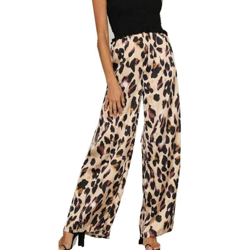 2018 Frauen Leopard Druck Breite Bein Hose Hohe Taille Lose Hosen Für Frauen Streetwear Leopard Lange Hosen