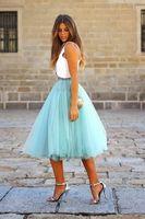 2018 Бирюзовый Двойка Вечерние Дешевые драпированные Тюль по колено короткие платье на выпускной Съемная юбка пачка