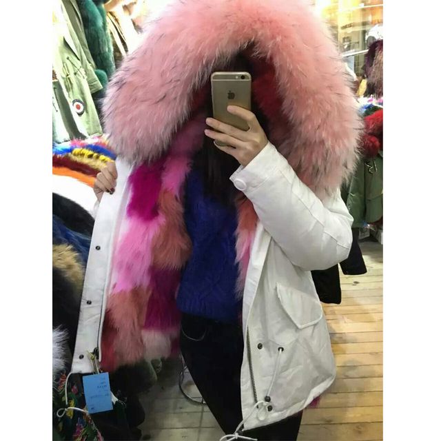 c928a4f9b23a1 White outside fabric real fox fur multi color sexy pink fox collar winter jacket  parka
