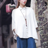 Hisenky Plus Size Women Blouses Half Sleeve Batwing Sleeve Cotton Linen Blusas Off Shoulder Women Tops Roupas Feminina