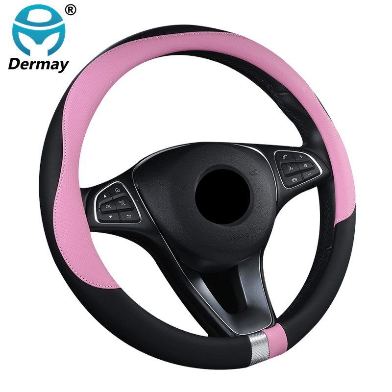 DERMAY 2018 New Car Steering Wheel Cover Soft Leather 7Colors For Ford Bmw VW Passat POLO GOLF Kia Lada chevrolet 95%Cars