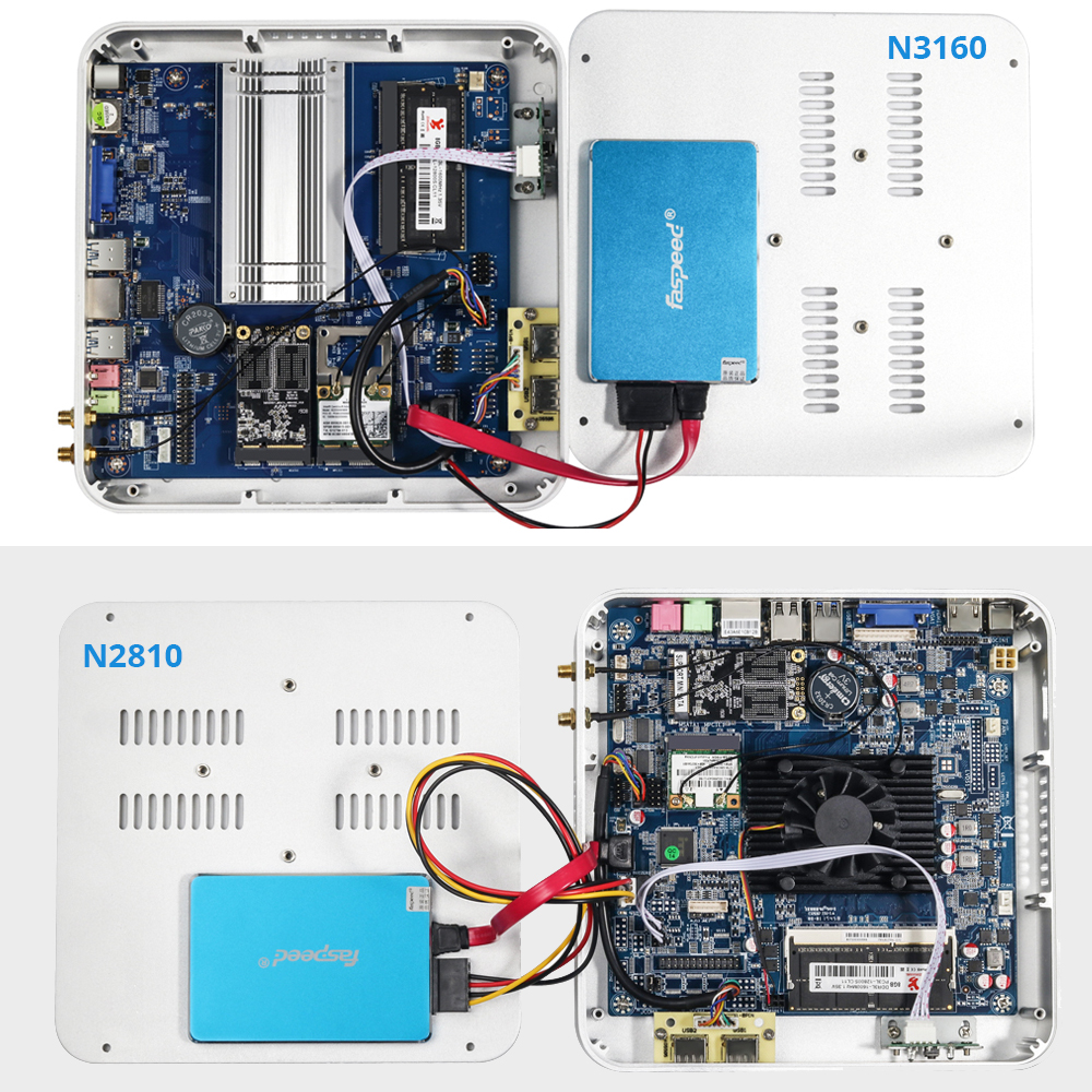 Barebones Mini PC Intel Celeron N3160 Quad-Core Windows 10 Thin Client Mini Desktop PC Gaming HDMI VGA WiFi HTPC TV BOX