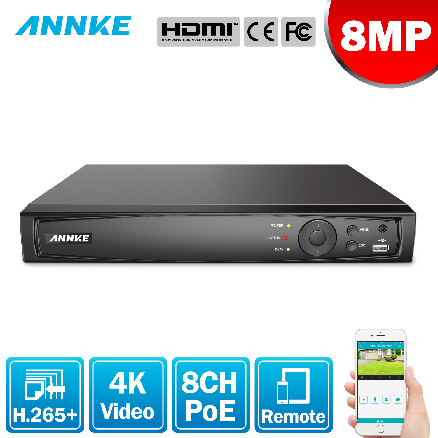 ANNKE 8MP 8CH POE Video Recorder 4K H.265 NVR For HD POE 2MP 4MP 5MP 8MP IP POE Camera Home Surveillance Security Motion Detect