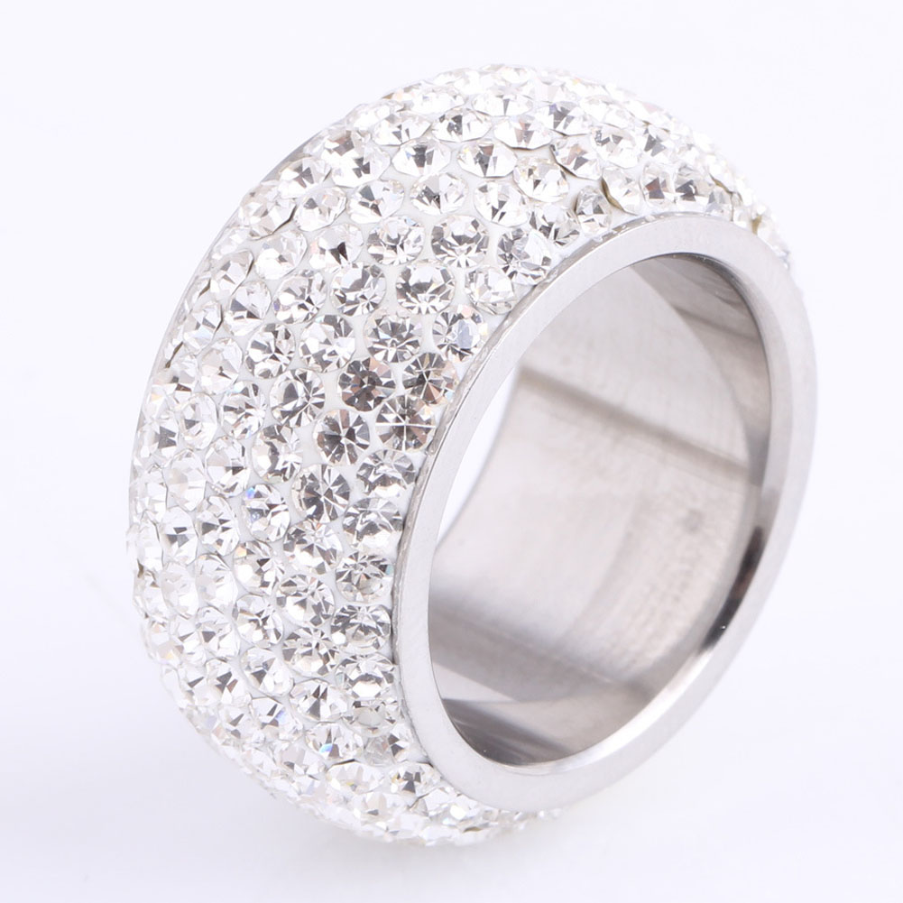 NewFashion Full Crystal Big Wedding Rings For Women Romantic Stainless Steel Ring Bague Femme Color silver Plated Ring Female