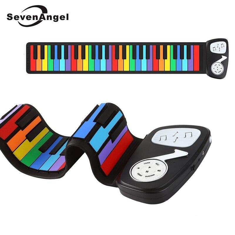 Mini Piano à enrouler 49 touches et fonctions multiples en tant que clavier électronique Instrument de musique en plein air jouets en Silicone 2 couleurs