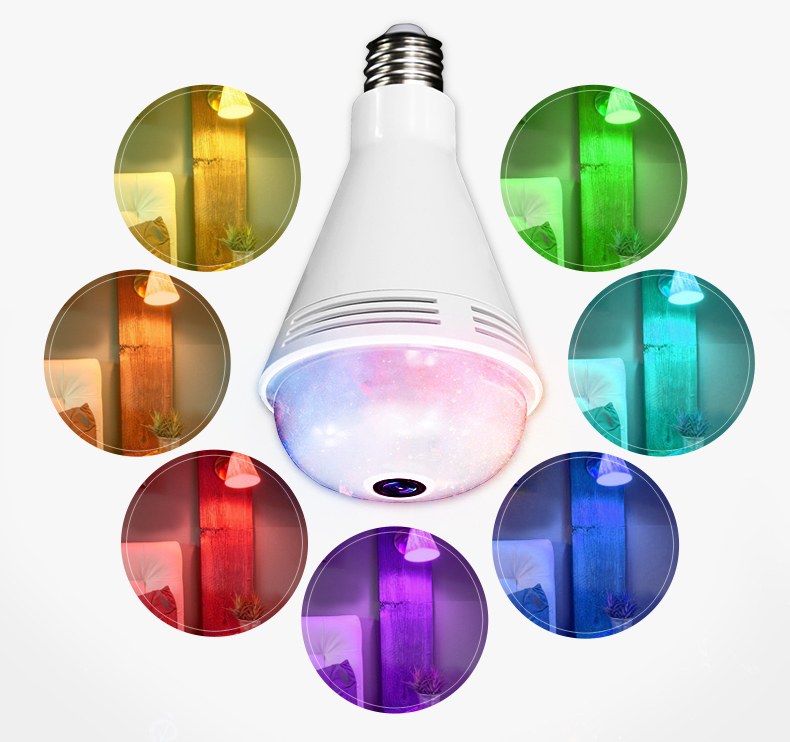 XM 960P Music Speaker IP Camera 360 Panoramic WIFI LED Lights Fullcolor Night Vision Bulb Home Security Camera