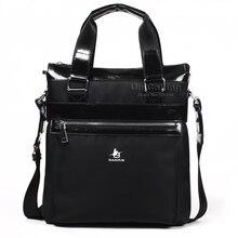 Hot sale men casual handbag messenger bag brand men waterproof Oxford+Cowhide leather vertical casual handbag crossbody bag