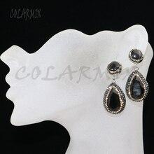 6 пар в форме капли камень кошачий глаз серьги проложить горный хрусталь разноцветные Ювелирные серьги с камнями подарок для леди 8037