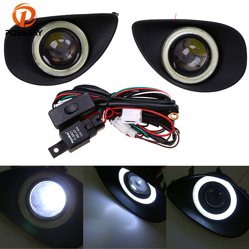 Angel Eyes Fog Light Fit for Toyota Yaris Hatchback NCP9# 2006 2010 Clear Fog Lights Driving Lamps+Wiring Harness Driving Lamps