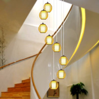 Customized Chinese double spinning stairwell long chandelier simple villa penthouse attic pick high bamboo lamp wf4271344