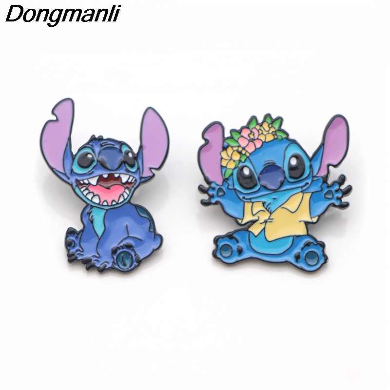 P3402 Wholesale 20pcs lot Stitch Alien Cute Metal Enamel Pins and Brooches for Women Men Lapel