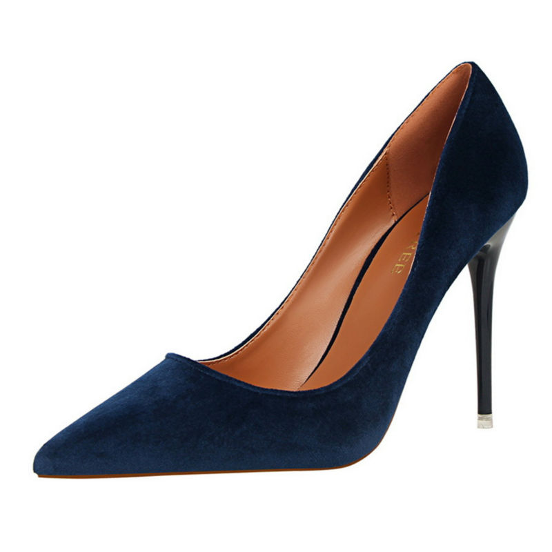 ФОТО 2017 New Women Basic Slip-On Shoes Simple High Heels Shallow Pointed Toe Single Shoes Ladies Pumps W02617-5