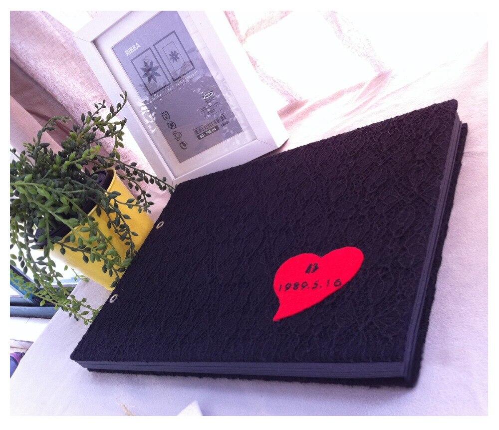 29.7*21 CM noir avec broderie coeur rouge 2 anneau collant Type 20 feuilles 40 P Album de bricolage à la main tissu Album photo Scrapbook