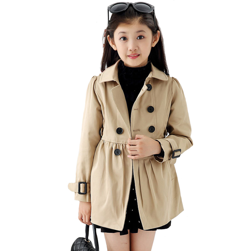 цена BAYALI Baby Girls Coat Children Khaki Classic Windbreaker Kids Rainproof Windproof Autumn/spring/winter Clothes England Style
