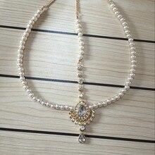 Moda Hecha A Mano Kundan piedras gota de la perla del pelo nupcial de la boda de la cabeza de la cadena cabeza Joyería