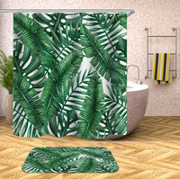 DFH Green Banana Leaf Shower Curtain Tropical Plants Printing Custom Curtain for Bathroom Waterproof Polyester Shower Curtain