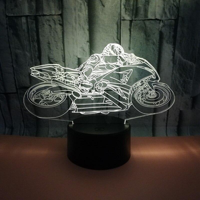 Creative USB LED 3D Lampe LED Moto Modèle 3D Capteur Nuit Lumière Atmosphère Lampe Pour enfant Décoration Chambre Lumières et vacances