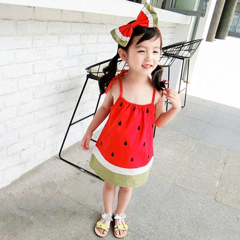 31eb6c267d15b Cute Sling Kids Girls Dresses Watermelon Summer Baby Girls Sleeveless Dress  100% Cotton Children Clothing Fashion frock for 1-6T