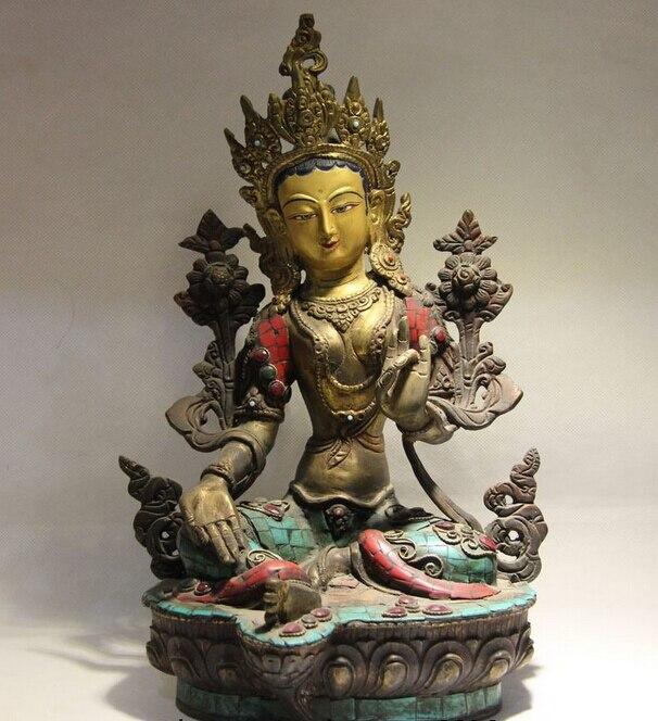 Fast Shipping USPS To USA S0880 Tibet Buddhism Copper Fane Inlay Turquoise Ruby Beryl Green Tara Kwan-yin Statue
