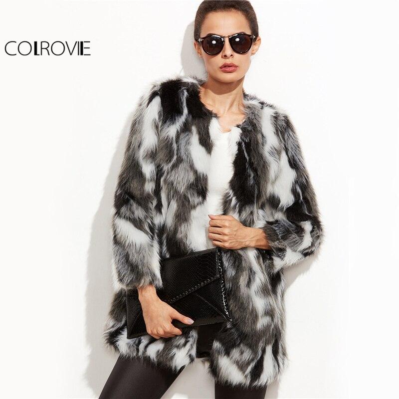 COLROVIE fausse fourrure manteau flou femmes ColorBlock ouvert avant élégant automne manteaux mode hiver à manches longues OL travail manteau survêtement - 3