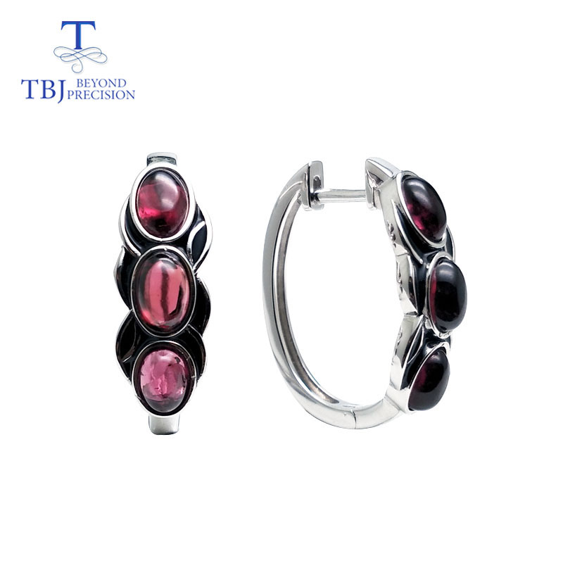 TBJ,vintage style good clasp earring with natural garnet rhodolite stone in 925 sterling silver design for women daily wear giftTBJ,vintage style good clasp earring with natural garnet rhodolite stone in 925 sterling silver design for women daily wear gift
