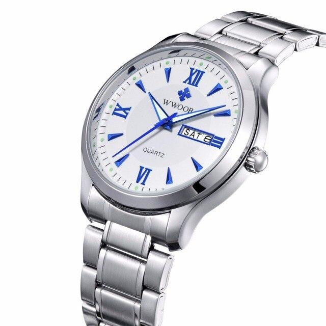 17608eb0d22 Homens Relógio Marca WWOOR Luminous Hour Dia Data Relógio Masculino prata  de Aço Inoxidável Relógio de