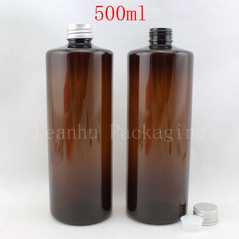 500ML Brown Flat Shoulder Plastic Bottle , 500CC Shampoo  Lotion Packaging Bottle , Empty Cosmetic Container ( 14 PCLot )