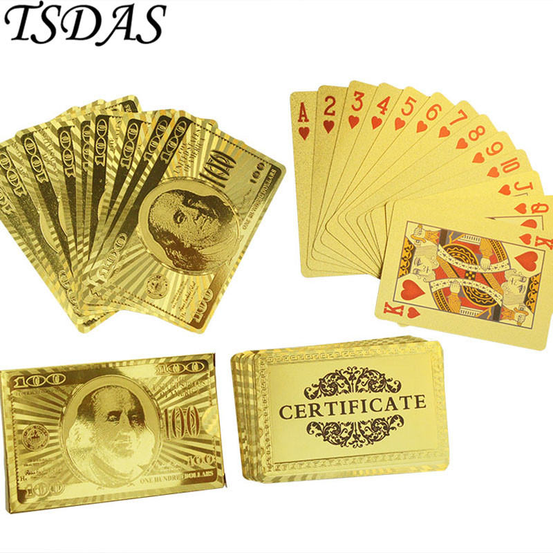 Free Shipping Poker Cards, 24K Carat Gold Playing Cards Set With 100 ...