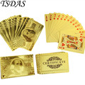 Free Shipping Poker Cards, 24K Carat Gold Playing Cards Set With 100 Dollar Design Business Gift