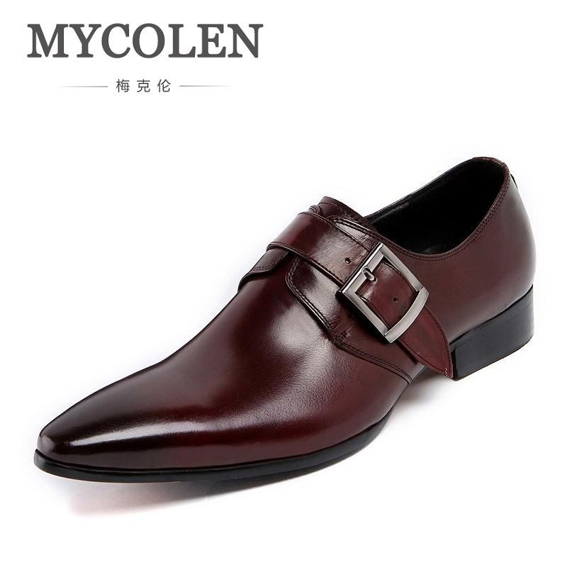 MYCOLEN Brand Fashion 2018 Summer Black Flats Pointed Toe Buckle Mens Dress Shoes Genuine Leather Men Office Wedding Shoes pjcmg spring autumn men s genuine leather pointed toe slip on flats dress oxfords business office wedding for men flats shoes