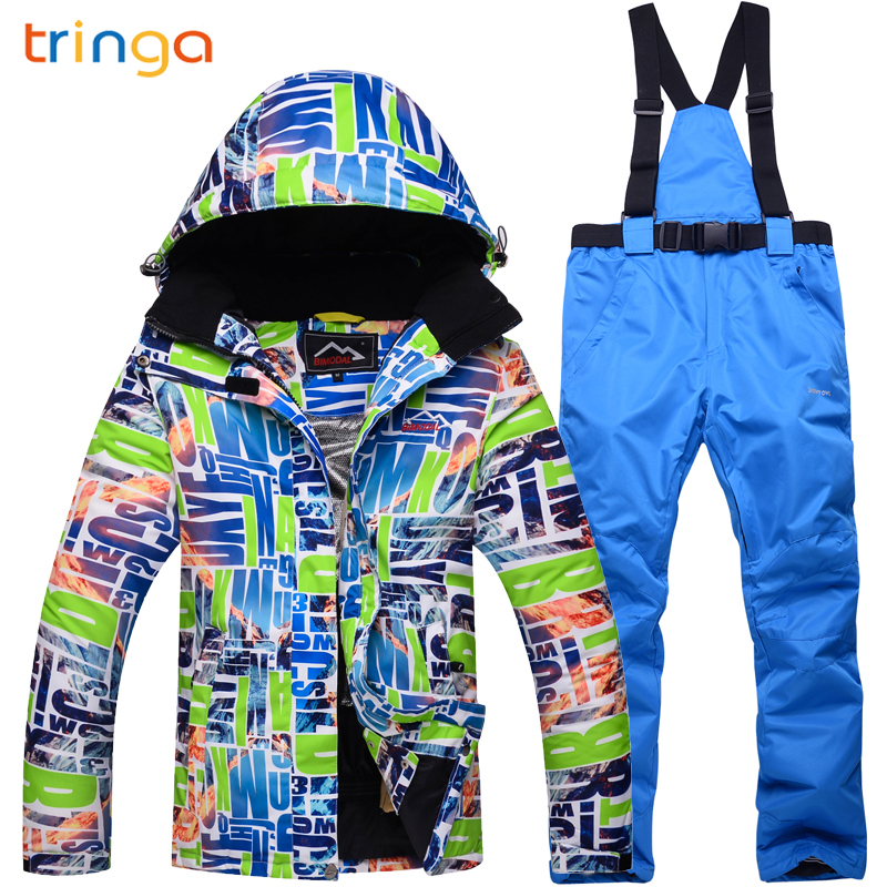 TRINGA Printed Ski Suit Men Women Waterproof Skiing Snowboard Jacket and Pant Clothing skiing Suit Set Outdoor Winter Snow Coats