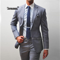 yiwumensa Classic Light Grey Buisness Men Groom Tuxedos Groomsmen Suits 2 Piece Jacket and Pants Custom Made Wedding Suits Mens