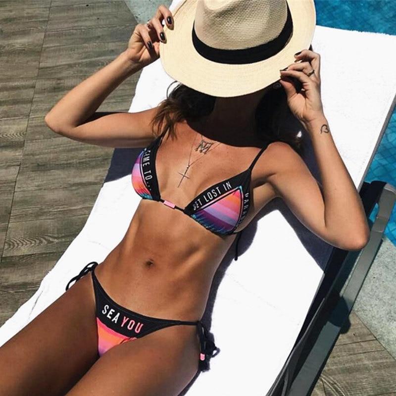 [NODELAY] 2019 Sexy Letter Bikinis Women Bandage Swimwear Thong Push Up Swimsuit Female Halter Triangle Bikini Set Print Biquini