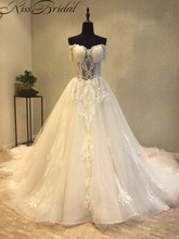 Купить с кэшбэком New Arrival A-line Wedding Dresses Sexy Off-the-Shoulder Corset Back Tulle Bridal Gowns With Long Train Sweetheart Neckline
