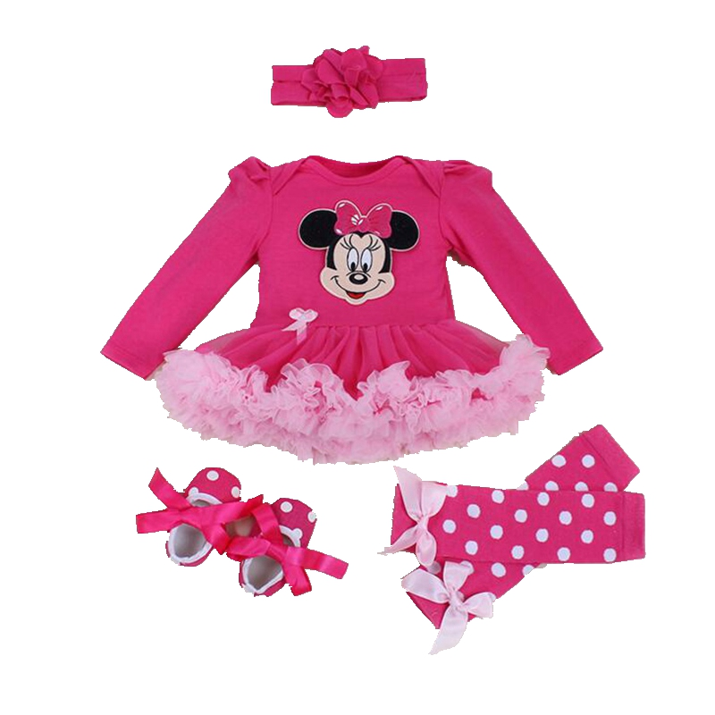 Minnie Bebe Lace Petti Romper Dress Legwarmers Crib Shoes Headband 4PCS Baby Girl Tutu Set Toddler Birthday Outfits Kids Clothes baby girls infant love applique tutu set baby lace romper dress crib shoes headband 3 piece newborn baby girl clothing set bebe